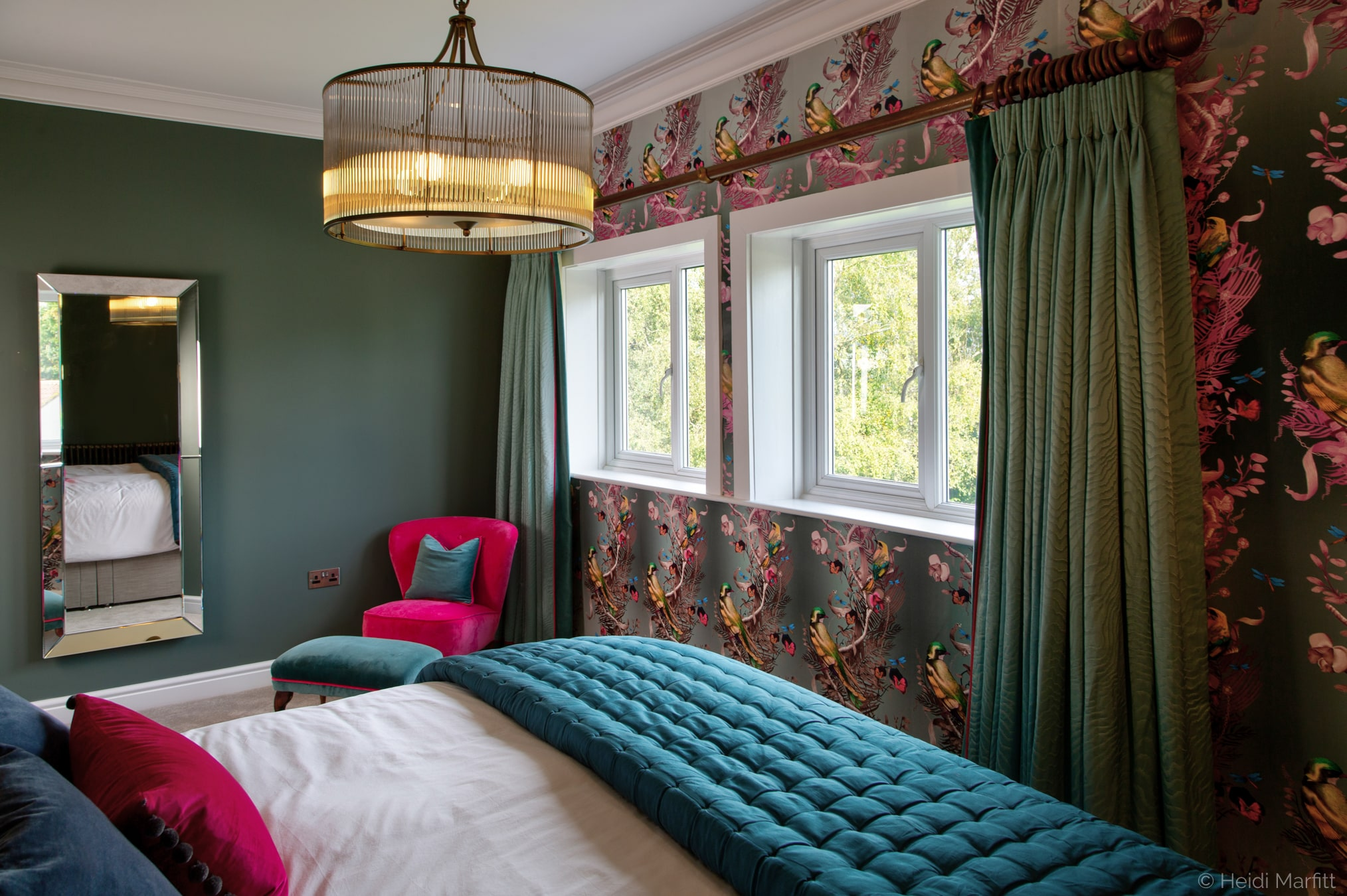 Kit Miles wallpaper and eau de nil curtains, mean this bedrom in Yorkshire is a haven after a busy day