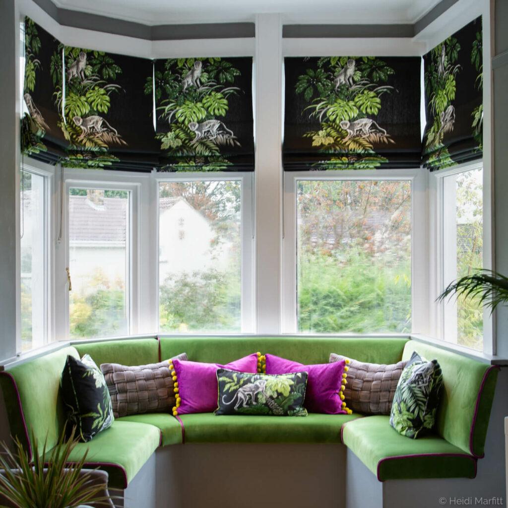 Botanical prints bring this window seat to life