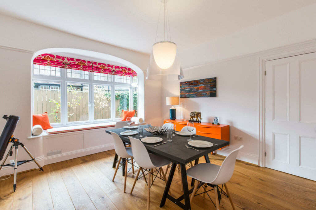 Bright pops of colour bring this West Yorkshire dining room to life