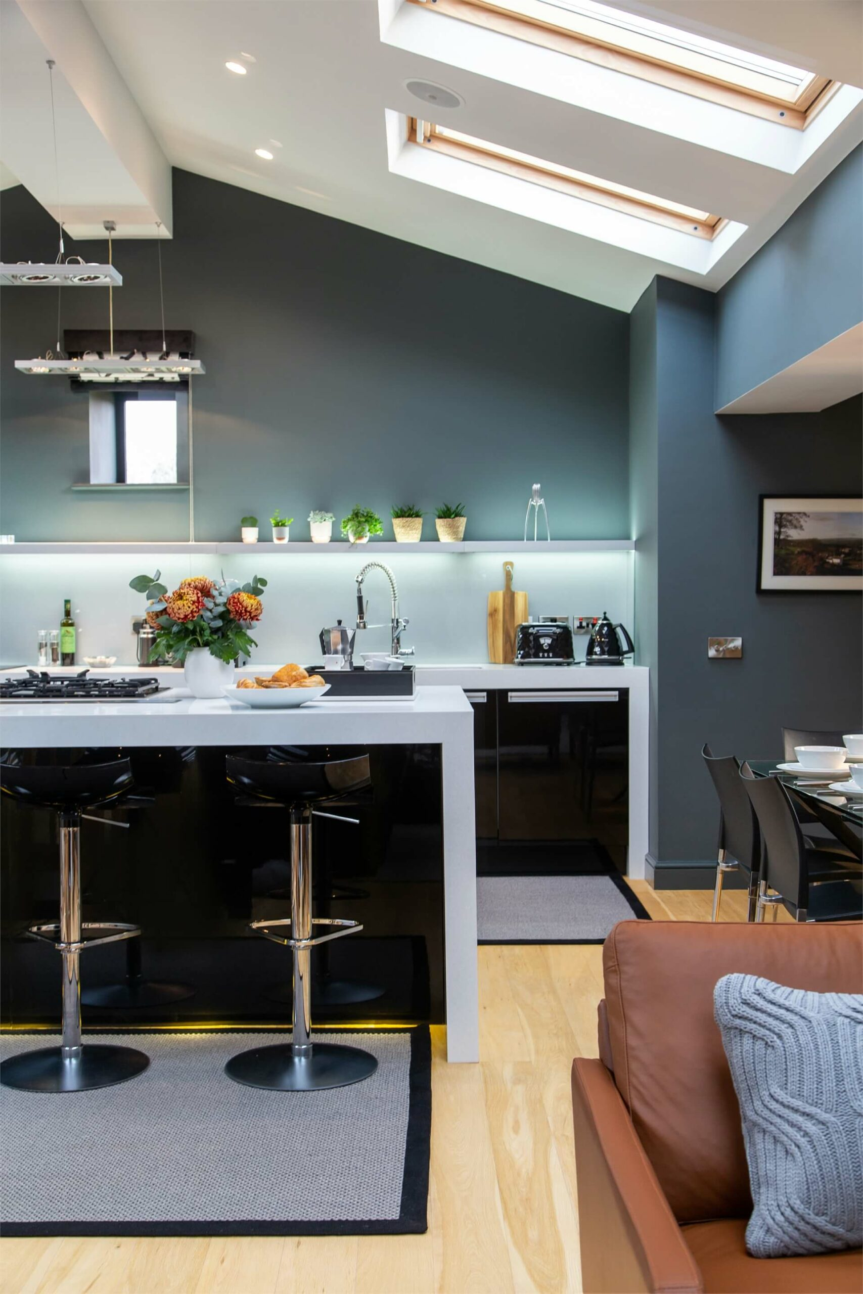 This open plan kitchen and dining area are great for socialising